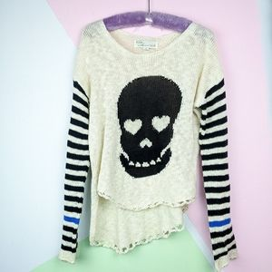Vintage Havana Cream White Skull Knit Sweater